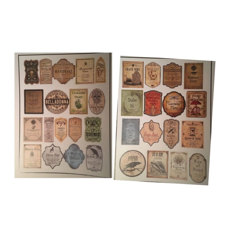 """34 Stickers 2"""" Tall Potion Labels Halloween Witch Apothecary Adhesive Pre-Cut"""