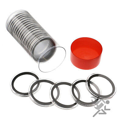 Red Capsule Tube & 20 Air-Tite 40mm Black Rings Silver Eagle Coin Holders