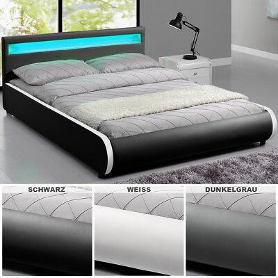 Polsterbett LED Kunstlederbett Ehebett Bett Doppelbett LED Bettgestell ArtLife®