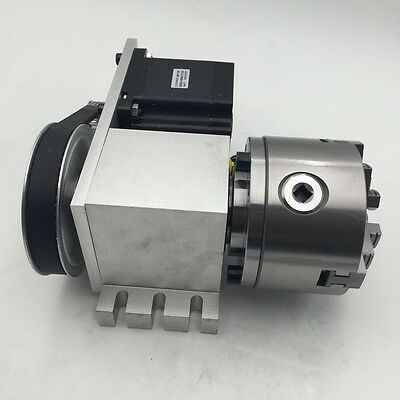 Cnc Rotary Axis 4th Axis Hollow Shaft With 3 Jaw 80mm Lathe Chuck K11-80