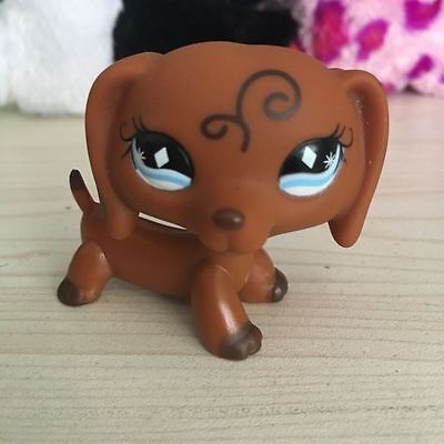 Littlest Pet Shop  Brown Dachshund Dog With Diamond Blue Eyes Lps  640 Figure