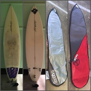Josh Fairleigh Surfboard, surf board, with Balin board cover Margate Redcliffe Area Preview