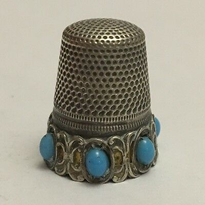 Antique German Silver Sewing Thimble with Turquoise CORAL Cabochons