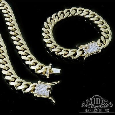 Men Cuban Miami Link Bracelet & Chain Set  14k Gold Plated 10mm *Diamond Clasp*