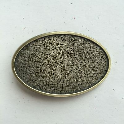 Original Antique Bronze Plated Oval Blank Western Belt Buckle