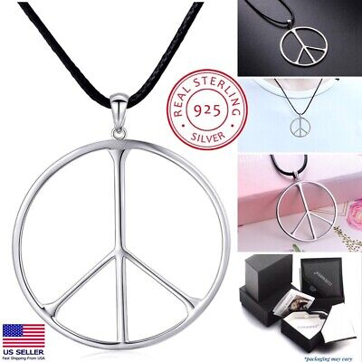 Peace Sign Pendant Necklace | 925 Sterling Silver | LARGE Pendant | 24