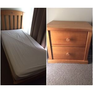 Boori single bed and bedside Kingston Kingborough Area Preview