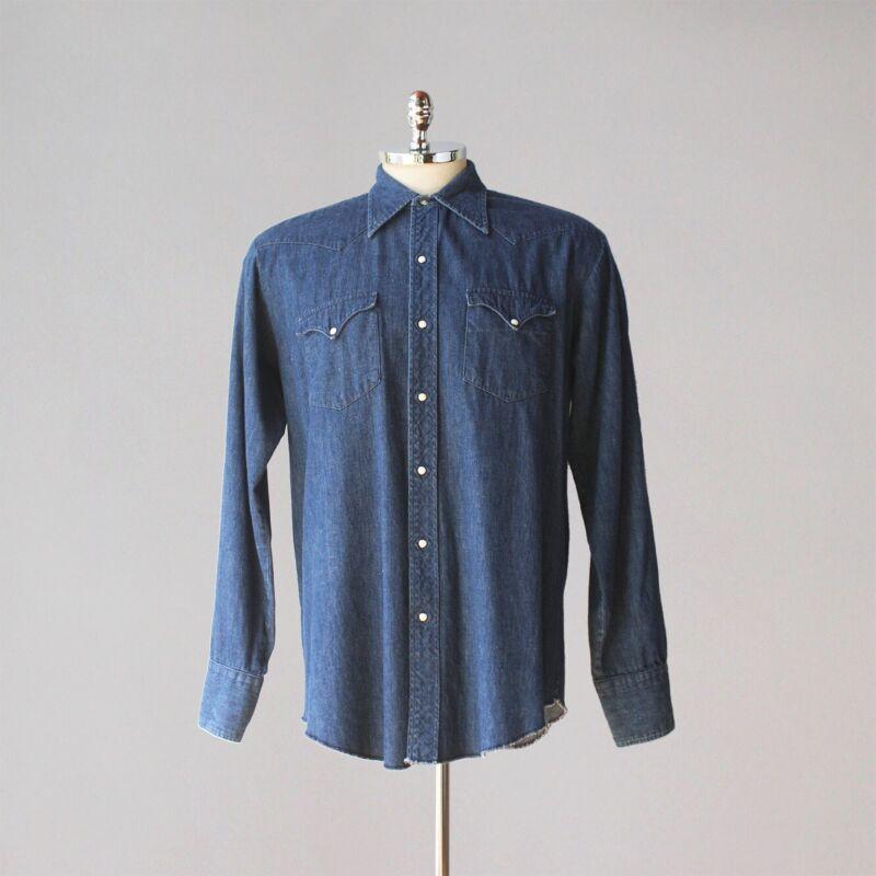1960s Vintage Tem Tex Dark Denim Pearl Snap Western Shirt Large XL