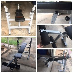 Bench press w/in-build leg extension, bar and weights Clontarf Redcliffe Area Preview
