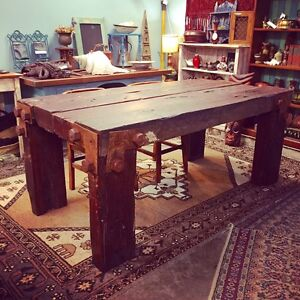 Rustic industrial timber dining table made from railway sleepers Glebe Inner Sydney Preview