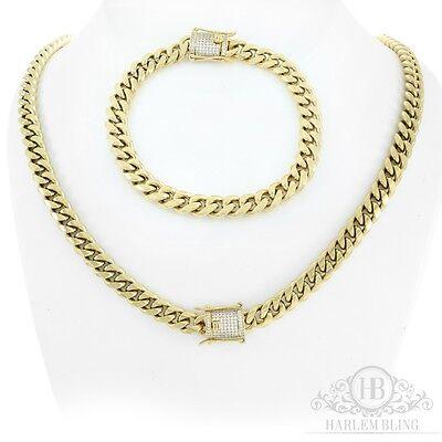 Women's Cuban Miami Link Bracelet & Chain Set 14k Gold Plated *Diamond Clasp*