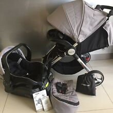 Steelcraft Agile PLUS Stroller / Infant Car Seat / Car Base Bundle Labrador Gold Coast City Preview