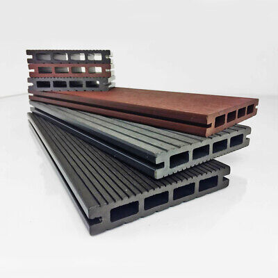 2.9m Composite Decking Boards WPC Wood Plastic - 3 Colours - FREE Clips & Screws