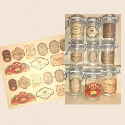 LABELS ONLY Halloween Apothecary Potion Bottle Harry Potter Party Prop Favor Jar (Halloween Apothecary Jars Labels)