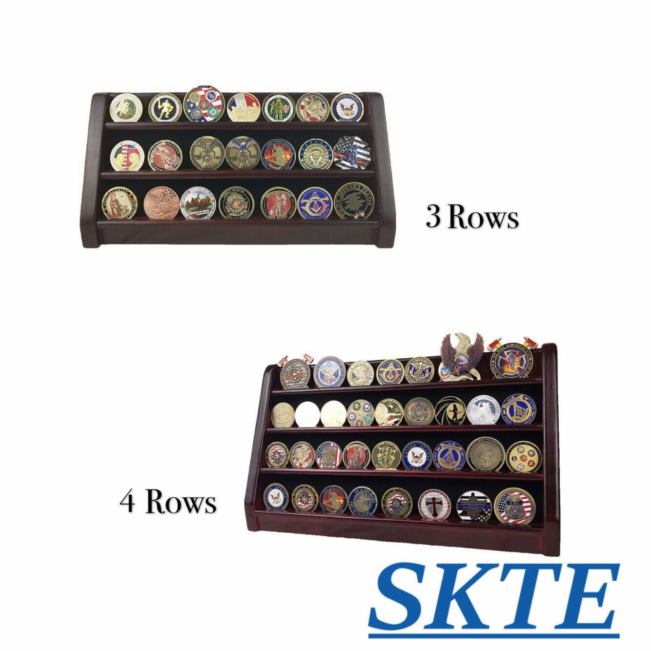 3 Rows/ 4 Rows Shelf Military Challenge Coin Display Gift St