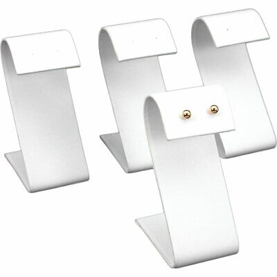 4 White Faux Leather Earring Display Stands 3.25