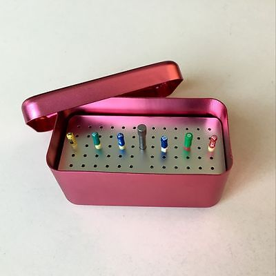 Dental Autoclavable 60 Holes Disinfection Box For Endo Files Aluminum Red Color