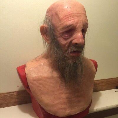 Realistic Silicone Halloween Mask (Halloween realistic halloween Silicone Mask old man Bearded prop like SPFX)