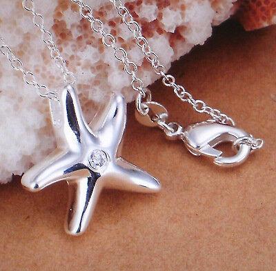 Halskette Kette mit Anhänger kleiner Seestern - Farbe Silber - plattiert 0686