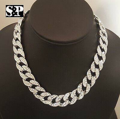 "Hip Hop Men Quavo Silver PT Iced Out 15mm 16"" Miami Cuban Choker Chain Necklace"