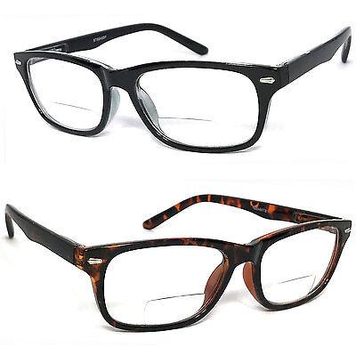 1 or 2 Pairs Clear Bifocal Reading Glasses Retro Rectangular Frame Spring (Bifocal Reading)