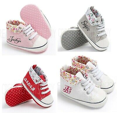 New Personalized crib shoes hi-top sneaker style baby girls 0-12 m floral flower - Personalize Shoes