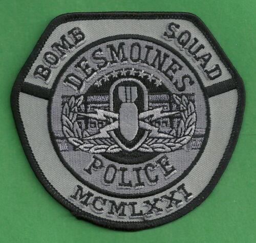 DES MOINES IOWA POLICE BOMB SQUAD TACTICAL GRAY SHOULDER PATCH