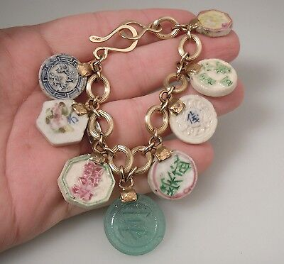 Chinese Porcelain Gaming Chips & Gold Tone Sterling Silver Bracelet