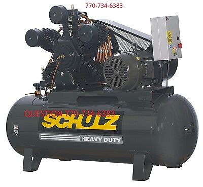 20 Hp 3 Phase 120 Gallon 175 Psi 80 Cfm Schulz Air Compressor 3ph