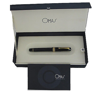 OMAS MILORD BLACK & GOLD  FINE POINT 18KT GOLD FOUNTAIN PEN NEW IN BOX