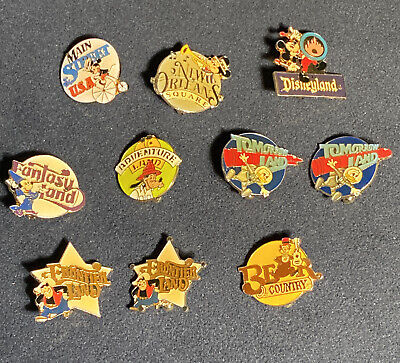 Vintage Disneyland 30th Complete Pin Set Fantasyland Tomorrowland Main Street