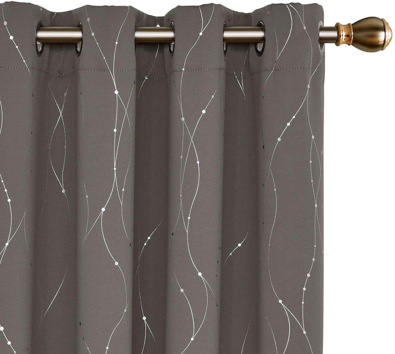 blackout curtains wave line w dots foil