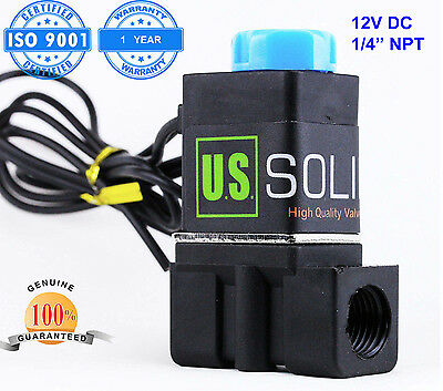 U.s. Solid 14 Solenoid Valve Normally Closed 12v Dc Nylon Blue Cap Air Water