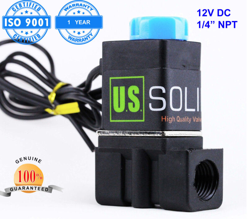 """U.S. Solid 1/4"""" Solenoid Valve Normally Closed 12V DC Nylon Blue Cap Air Water"""