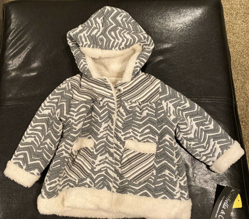 Isobella & Chloe 18 Month Jacket With Hood Gray And White Pattern
