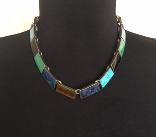 MEXICAN 950 SILVER PANEL NECKLACE TURQUOISE, ONYX, LAPIS