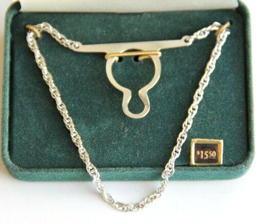 Anson Silver Tone Tie Chain w/ Original Green Velveteen Case NOS
