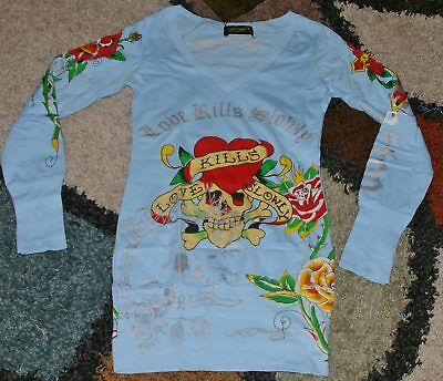 (Ed Hardy Woman L/S Foil Screen Print Hart Skull Rose Tee shirt Sizes S to L)