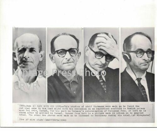 Press Photo Adolph Eichmann Expressions Jewish Judaica Israel Holocaust WW2 1962