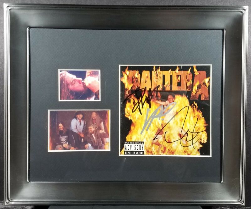 """Signed Pantera """"Reinventing The Steel"""" CD Cover Display,JSA Authenticated"""