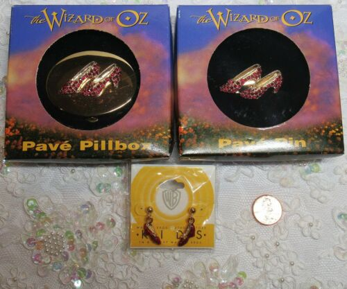 3 PC Lot Wizard of Oz Pave Pill Box Pin Brooch Earrings Ruby Red Slippers in Box