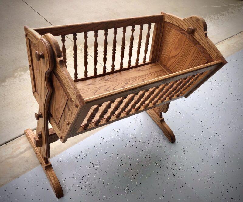 Baby bassinet,cradle,Solid Oak Handmade Amish style,