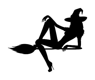 WITCH on BROOMSTICK Vinyl Decal Sticker -V3- Flying Halloween Sexy - Witchcraft On Halloween