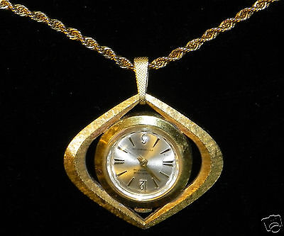 HERITAGE Contessa Watch Necklace Pendant w/ Chain ~ VINTAGE ~ Swiss ~ TICKS!!!