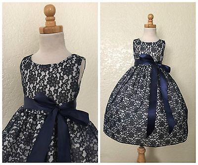 Navy Floral Lace Flower Girl Bridesmaid Elegant Christmas Toddler Girl Dress #34