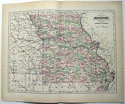 Original Johnson's 1896 Copper-Plate Map of Missouri. Rare.