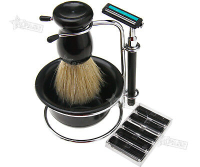 - Useful Men Shaving Razor Beard Clean Kit Brush Soap Bowl Stand Razor Blades