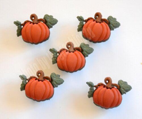 5 Pumpkin w Vine / Shank Buttons / Jesse James - Dress It Up / Fall ~ Autumn