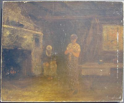 ANTIQUE 1882 AMERICAN GEORGE FULLER 1857/58 AL AFRICAN AMERICAN CABIN PAINTING