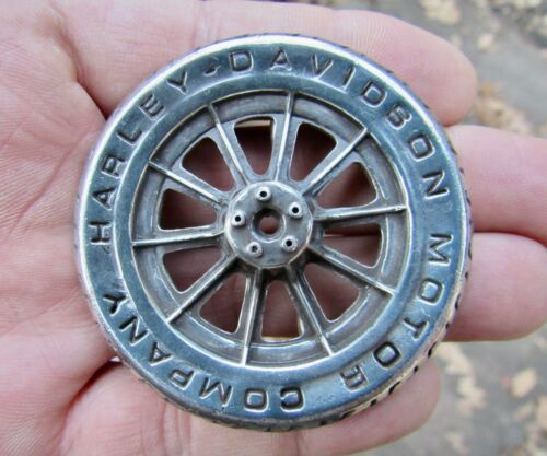 Vtg HARLEY DAVIDSON Belt Buckle 1996 Motorcycle HD Chopper 3D RIM Wheel RARE VG+